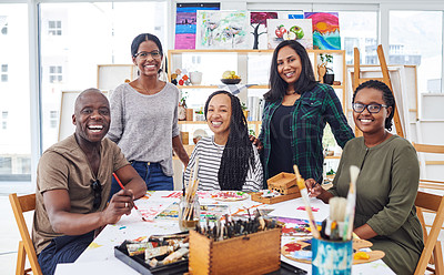 Buy stock photo Cropped shot of a group of people attending a art class