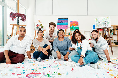 Buy stock photo Cropped portrait of a diverse group of friends posing together during an art class in the studio