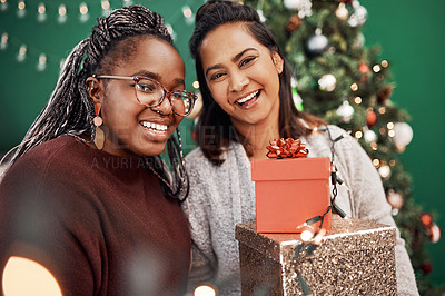 Buy stock photo Portrait of two happy young women celebrating Christmas at home