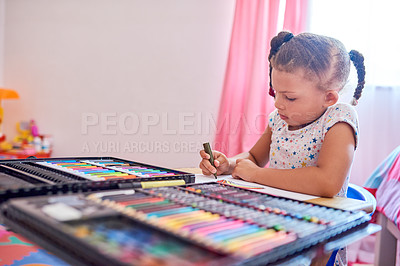 Buy stock photo Cropped shot of an adorable little girl busy drawing in her bedroom