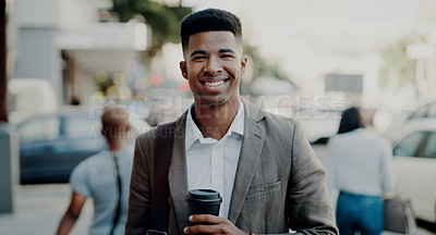 Buy stock photo Portrait of a handsome young businessman drinking coffee while outdoors in the city