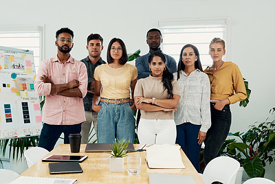 Buy stock photo Cropped portrait of a diverse group businesspeople standing together after a successful discussion in the office