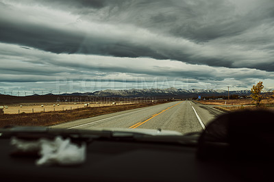 Buy stock photo Shot of an open road outdoors in the countryside