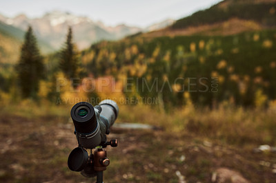 Buy stock photo Shot of a telescope in a beautiful forest outdoors in nature
