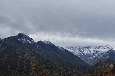 Buy stock photo Shot of beautiful snow capped forest and mountain scenery during winter in the East Kootaney region of British Columbia, Canada