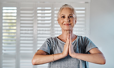 Buy stock photo Portrait of a cheerful mature woman practicing yoga inside of a studio during the day