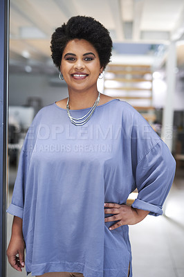 Buy stock photo Portrait of an attractive young businesswoman posing inside her office