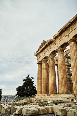 Buy stock photo Cropped shot of the famous Hephaisteion during the day while sight-seeing in Athens, Greece