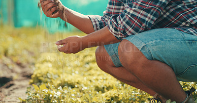 Buy stock photo Cropped shot of an unrecognizable male farmer working in a crop field during the day