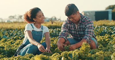 Buy stock photo Cropped shot of two young farmers working together in a crop field