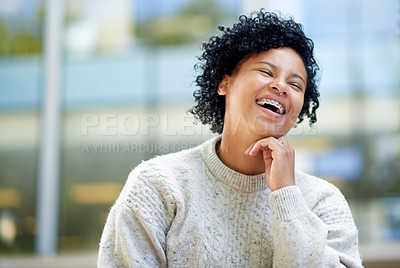 Buy stock photo Shot of a cheerful student outside at campus