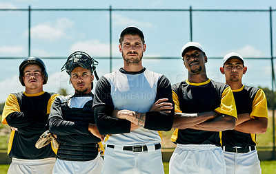 Buy stock photo Cropped portrait of a group of baseball players standing with their arms folded on the field during the day