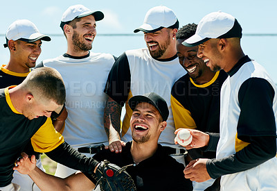 Buy stock photo Cropped shot of a team of baseball players smiling while standing with their coach on the field during the day