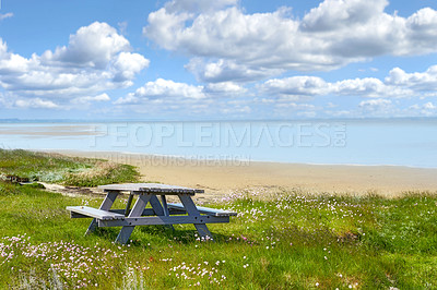 Buy stock photo Bench and table by the East Coast of Jutland, Denmark
