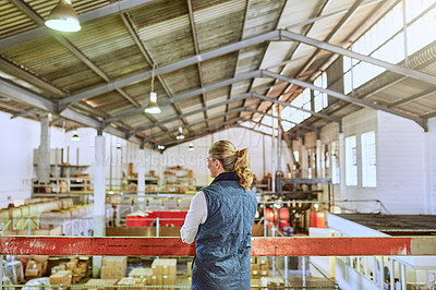 Buy stock photo Cropped shot of an unrecognizable supervisor standing alone and looking out at the stock in a warehouse