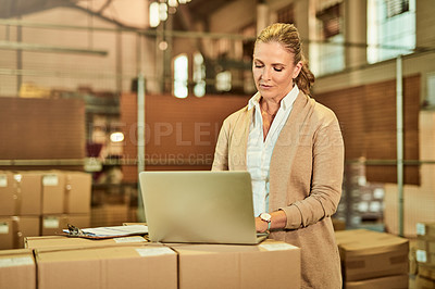 Buy stock photo Cropped shot of an attractive mature supervisor standing alone and using a laptop during a stocktake in a warehouse