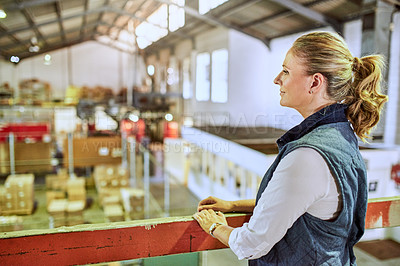 Buy stock photo Cropped shot of an attractive mature supervisor standing alone and looking out at the stock in a warehouse