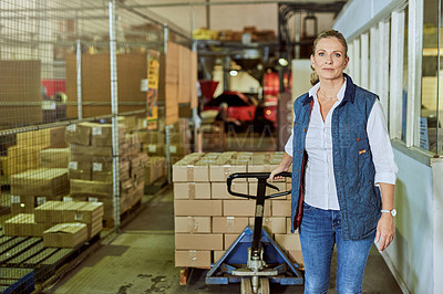 Buy stock photo Cropped portrait of an attractive mature supervisor pulling an industrial trolley loaded with stock in a warehouse