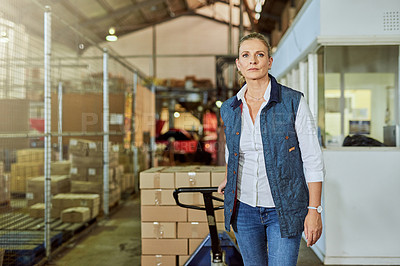 Buy stock photo Cropped shot of an attractive mature supervisor pulling an industrial trolley loaded with stock in a warehouse
