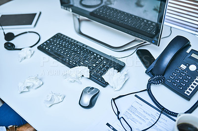 Buy stock photo Shot of used tissue paper lying on a desk