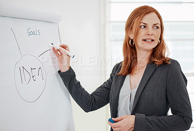 Buy stock photo Shot of a mature businesswoman using a whiteboard while giving a presentation in an office