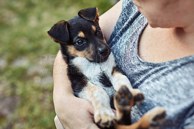 Buy stock photo Shot of an unrecognizable woman spending time with her adorable little puppy outside