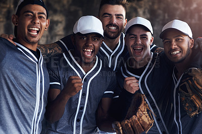 Buy stock photo Shot of a group of young baseball players celebrating after playing a game