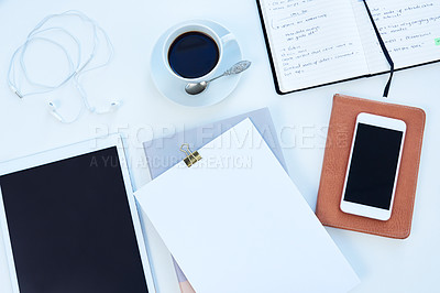 Buy stock photo High angle shot of objects on a table  with no people