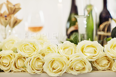 Buy stock photo Shot of white roses on a table at a wedding reception