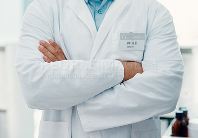 Buy stock photo Cropped shot of a confident scientist working in a modern laboratory