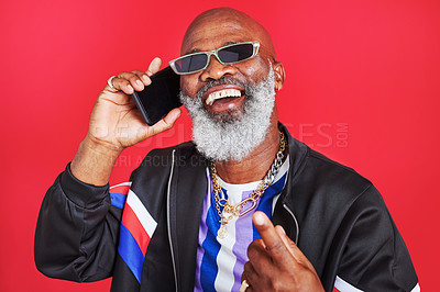 Buy stock photo Studio shot of a retro dressed man talking on the cellphone