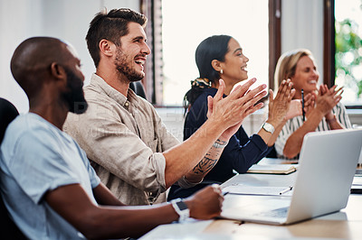 Buy stock photo Cropped shot of a group of business colleagues applauding during a strategy meeting in the boardroom
