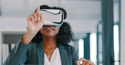 Buy stock photo Shot of a young businesswoman using a virtual reality headset in a modern office