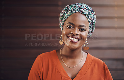 Buy stock photo Cropped portrait of an attractive businesswoman standing in her office