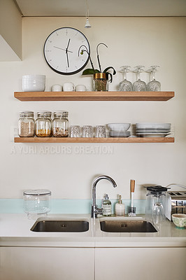 Buy stock photo Shot of a clean kitchen sink at home