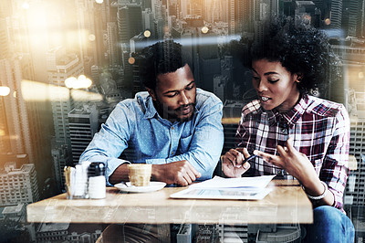 Buy stock photo Shot of a young man and woman having a meeting in a cafe superimposed on a city background