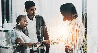 Buy stock photo Superimposed shot of businesspeople shaking hands in an office