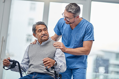 Buy stock photo Shot of a nurse helping a senior man with a walker