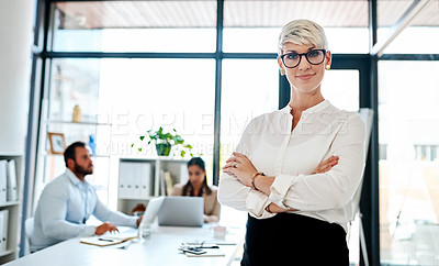 Buy stock photo Portrait of a pregnant businesswoman standing in an office with her colleagues in the background