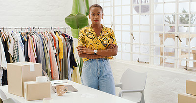 Buy stock photo Shot of a confident young woman working in a design studio