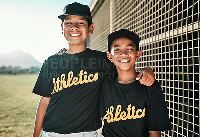 Buy stock photo Portrait of two young baseball players standing together on the pitch