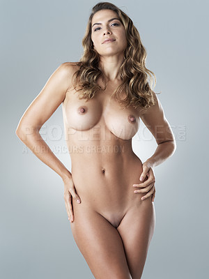 Buy stock photo Studio shot of a beautiful young woman posing nude