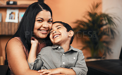 Buy stock photo Portrait of a mother bonding with her little son at home