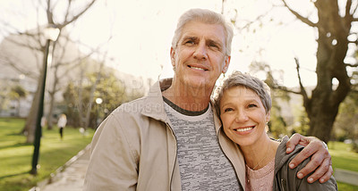 Buy stock photo Shot of a senior couple spending quality time in the park