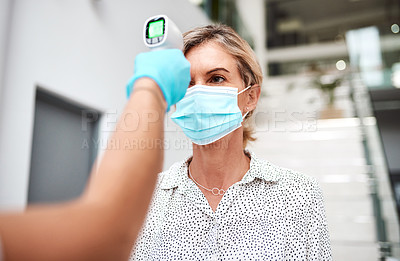 Buy stock photo Shot of a mature businesswoman getting her temperature taken with an infrared thermometer in an office