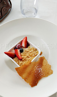 Buy stock photo Shot of a delicious deconstructed dessert served in a fine dining restaurant