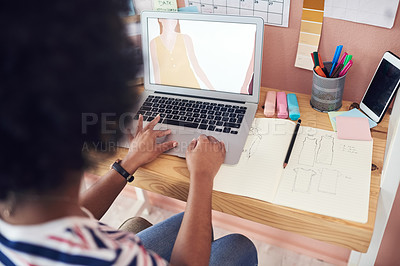 Buy stock photo Cropped shot of a young designer working from home