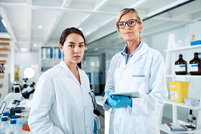 Buy stock photo Portrait of two scientists working in a lab