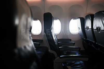 Buy stock photo Shot of seats in an airplane