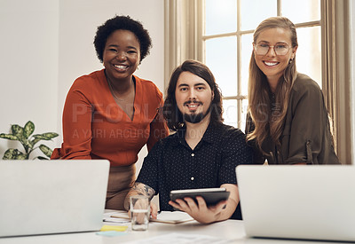 Buy stock photo Portrait of a group of businesspeople working together in an office